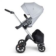 Stokke Xplory V6 Silver Chassis Stroller with Black Leatherette Handle, Grey Melange