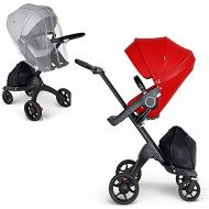 Stokke Xplory V6 Black Chassis Stroller with Black Leatherette Handle, Red with Mosquito Net