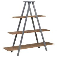 Stone & Beam Bryson A-Frame Bookcase Shelf Stand, 70.7W, Wood and Iron