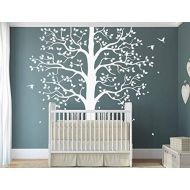 StudioQuee White tree wall decal Large nursery tree with birds KW003_1