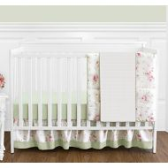 Sweet Jojo Designs Rileys Roses Pink and Sage Green Shabby Chic Floral Baby Girl Flower Bedding 4 Piece Crib Set Without Bumper