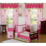 Sweet Jojo Designs 5-Piece Pink and Green Flower Collection Girls Toddler Bedding Set