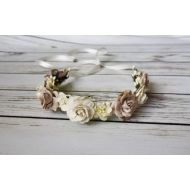 The Pearled Rose Rustic Wedding Flower Crown - Bridal Headband - Ivory Floral Crown - Flower Girl Tiara - Neutral Tan Garland - Cherry Blossom Country Rose