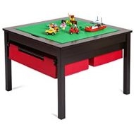 [아마존베스트]UTEX 2 in 1 Kids Construction Play Table with Storage Drawers and Built in Plate (Espresso)