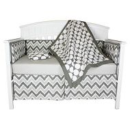 Bacati Dots and Chevron 4-in-1 Cotton Baby Crib Bedding Set, Bumper Pad, Grey