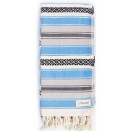 Visit the Bersuse Store Bersuse 100% Cotton - San Jose Turkish Towel - Peshtemal Bath Beach Towel - Mexican Blanket - Oeko-TEX - 35 x 71 Inches, Blue (Set of 6)