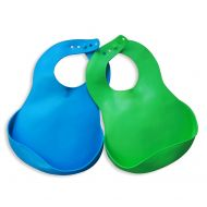 Vital Baby 2 Piece Easy Clean Wipeable Soft Bibs, Blue, Green
