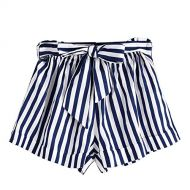 Womens Loose Shorts,Ladies Summer Casual High Waist Bow Striped Hot Pant Beach Pant