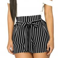 Womens High Waist Shorts,Ladies Summer Stripe Wide Leg Bow Short Trousers Hot Pant with Pockets