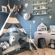 Wonder Space Kids Teepee Play Tent Children Baby Toddlers Nursery Tent Playhouse for Indoor Outdoor, Raw Handmade Cotton Canvas with Mat Floor, Grey Stripes
