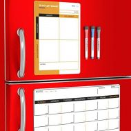 WowThings! Magnetic Dry Erase Calendar with Refrigerator To-Do List for Kitchen - Monthly Planner Board for Fridge - Family Weekly Whiteboard Organizer - Reusable Writing Pad Magnets - Day We