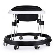 ZIMAO 7 Heights Adjustable Baby Walkers for Boys&Girls with Large BPA Tray & 8 Universal Wheels, Anti-Rollover Folding Toddler Walker for Baby Boy&Girl 6-18Months (Black PU Cushion)