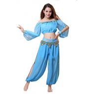 ZLTdream Belly Dance Chiffon Long Sleeves Top and Lantern Coins Pants